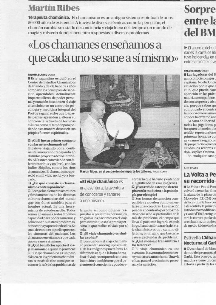 Entrevista sobre chamanismo a Martón Ribes en el Periodico Levante el Mercantil Valenciano